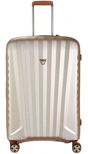 Прочный практичный чемодан из пластика 71 л. Roncato UNO ZIP Deluxe 5212/04/26 бежевый