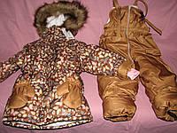 Детский зимний термо комбинезон Зимушка р.104 девочкам коричневый в бабочки
