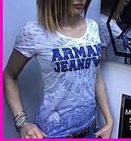 Футболка  ARMANI JEANS женская стильная с логотипом SF62