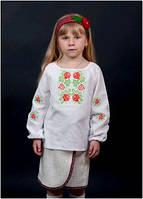 Вышиванка детская для девочки белая женская ТМ Два Кольори 0189 хлопок
