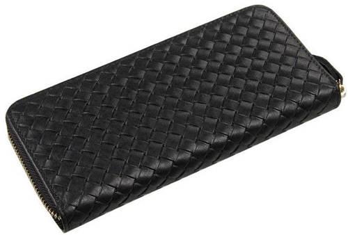 Плетеное мужское кожаное портмоне   TIDING BAG 8067A черный