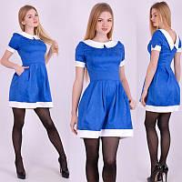 Жаккардовое короткое платье синее Арт.-5097/43