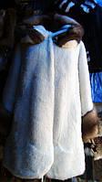 Шуба из стриженной нутрии в белом цвете с отделкой из куницы 110 см, фото 1