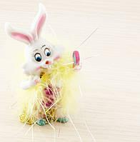 Заяц модник с желтым боа 115х60мм (товар при заказе от 200 грн)