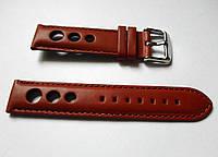 Ремешок к часам ALFA, кожаный, матовый, перфорированный, цвет коричневый