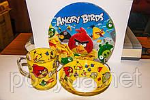 "Набор детский ""Angry Birds"" (стекло), 3 пр."