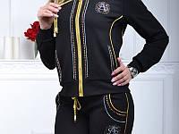 Стильный гламурный спортивный костюм женский Турция однотоный на змейке чёрный S M L XL 50 52 54 56