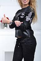 Гламурный спортивный костюм женский чёрный с паетками Турция S M L XL