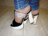Б565 - Сабо женские черные на каблуке