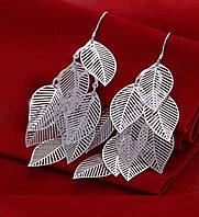 """Шикарные ювелирные серьги 925 """"Листья""""."""