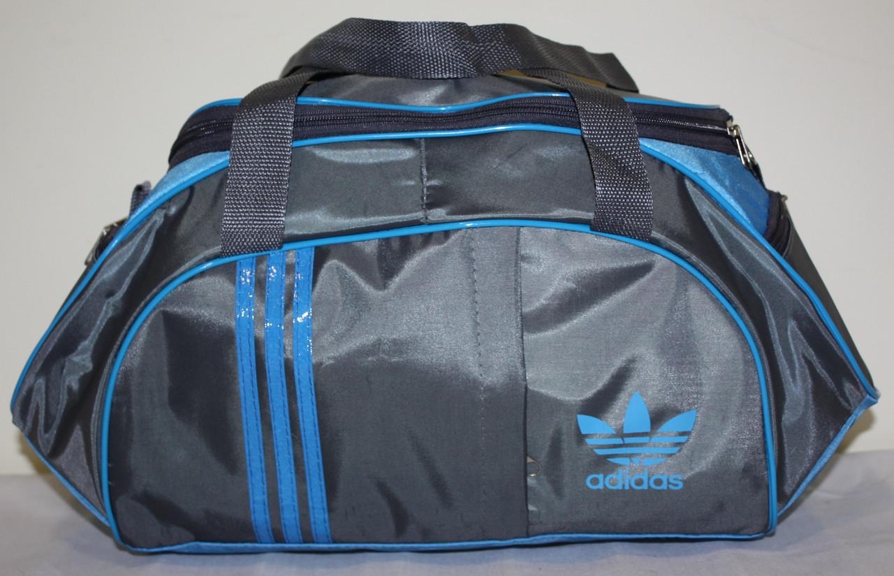 Сумка спортивная Adidas серая голубая