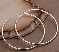 Великі срібні сережки кільця 6 см 925, фото 1