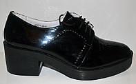 Туфли женские на толстом каблуке черные Uk0210