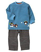 """Детский комплект для мальчика  """"Пингвины""""  6-12  месяцев"""