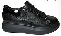 Туфли женские кожа на высокой подошве черные Uk0212