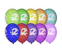 """Воздушные шары Gemar, расцветка: Пастель ассорти, Шелкография круговая печть Цифра """"2"""", Диаметр 30 см, 100 шт"""