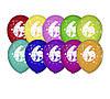 """Воздушные шары Gemar, расцветка: Пастель ассорти, Шелкография круговая печть Цифра """"6"""", Диаметр 30 см, 100 шт."""