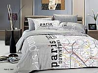Белье семейное сатин  le vele PARIS MAP