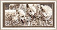 Набор для вышивания нитками Белые волки М-126