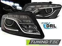 Передние тюнинг фары Audi Q5 2008-2012 г.в. линза, дневные ходовые огни, черные