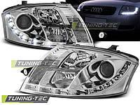 Передние тюнинг фары Audi TT 1999-2006 г.в. дневные ходовые огни, линза, хром