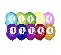 """Воздушные шары Gemar, расцветка: Пастель ассорти, Шелкография круговая печть Цифра """"0"""", Диаметр 30 см, 10 шт."""