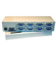 03-00-54. Сплитер VGA 8port (1гн.VGA- 8гн.VGA), метал., DC-9V 5W