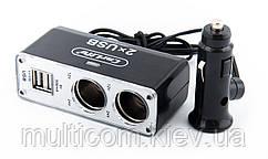 02-05-01. Разветвитель автоприкуривателя 2 гн. + 2 гн. USB