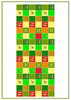 Вафельное  полотно Квадратики зеленый