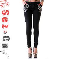 Спортивные брюки женские с жемчегом - Черный