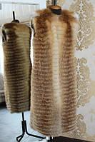 Шуба из натуралных цельных шкур лисы в роспуск. Длина 105 см, фото 1