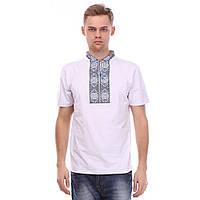 Мужская футболка вышиванка на белом трикотаже