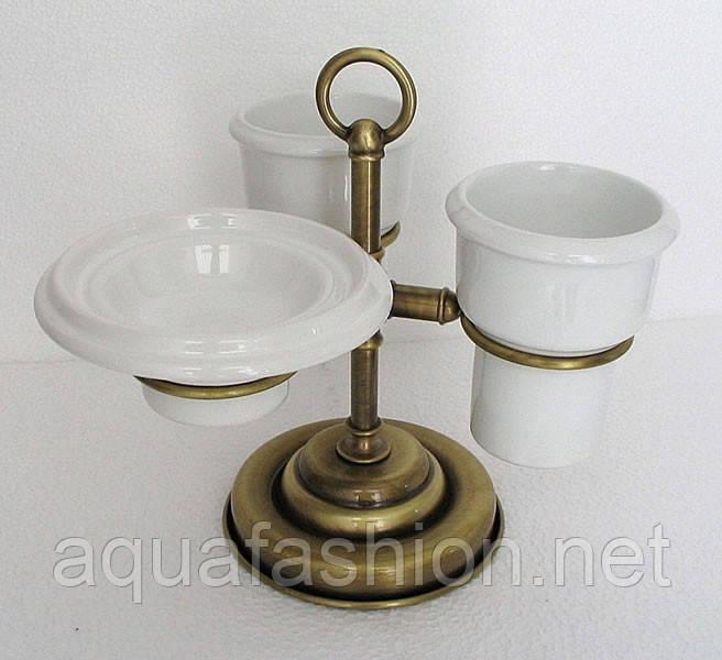 Бронзовый настольный набор аксессуаров для ванной 3 в 1 PACINI & SACCARDI OGGETTI APPOGGIO 30118