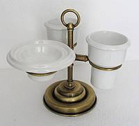Бронзовый настольный набор аксессуаров для ванной 3 в 1 PACINI & SACCARDI OGGETTI APPOGGIO 30118, фото 1