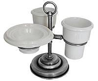 Настольный набор аксессуаров для ванной 3 в 1 PACINI & SACCARDI OGGETTI APPOGGIO 30118 хром