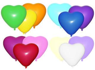 Воздушные шары Gemar, расцветка: Пастель, форма: Фигурные, Сердце ассорти, Диаметр 16 см, 100 шт.
