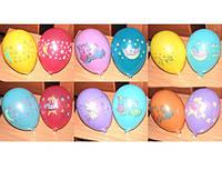 Воздушные шары Gemar GD90, расцветка: Пастель с рисунком ассорти, Диаметр 26 см, 100 шт.