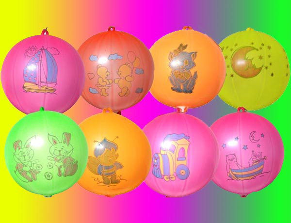 Воздушные шары Gemar, расцветка: Неон с рисунком ассорти, форма: шар арбуз Панч-болл, Диаметр 43 см, 50 шт.