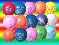 Воздушные шары Gemar, расцветка: Пастель с рисунком ассорти, форма: шар арбуз Панч-болл, Диаметр 45 см, 50 шт.