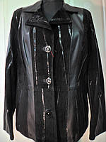 Пиджак из натуральной кожи с замшевыми вставками длина 65см 46р 48р ОГ 94 и 96 ОБ 98 и 100