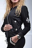 Брендовый гламурный спортивный костюм женский Турция с XS по 54 размер чёрный
