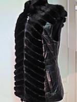 Жилет из хвостиков норки на замочке, бока и спинка в коже - длина 65см. 48р 50р