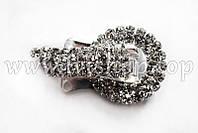 Шубный крючок-застежка 3,5 см, под серебро, круглая, со стразами