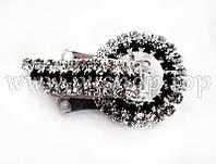 Шубный крючок-застежка 3,5 см, под серебро, круглая, со стразами, с полоской