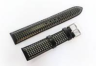 Ремешок кожаный Italian Classic для наручных часов, черный с перфорацией, 20 мм