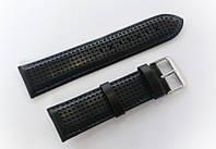 Ремінець шкіряний Italian Classic для наручних годинників, чорний з перфорацією, 24 мм