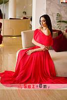 Платье женское шифоновое с подкладкой - Красный