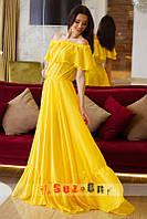 Платье женское шифоновое с подкладкой - Желтый