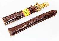 Ремінець шкіряний Modeno Spain для наручних годинників із застібкою-кліпсою, коричневий, 18 мм