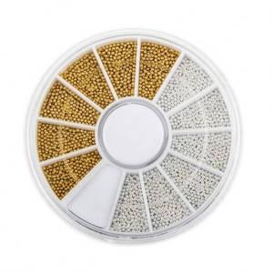 Бульонки для дизайна ногтей в карусели, золото + серебро, металлические